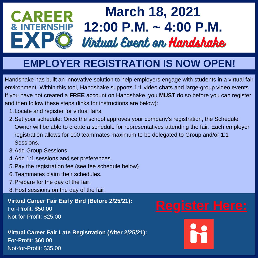 Employer registration for Virtual Career & Internship Expo