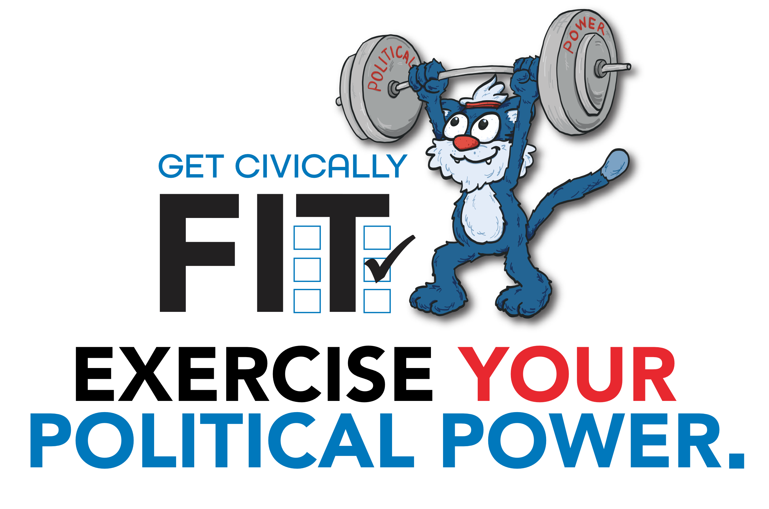 Willie the Wildcat lifting weights that say political power