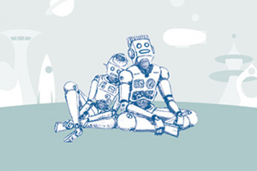 two robots leaning on eachother sitting on a hill