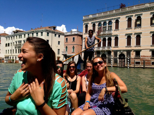 Student laughing in Venice, Italy