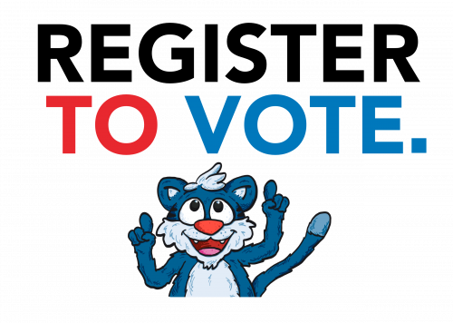 Willie the wildcat pointing to the text 'Register to Vote'