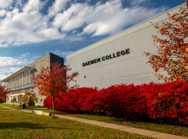 Angle view of the front of campus with trees in fall colors