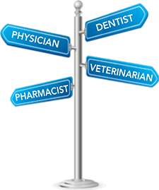 Sign post that says Dentist, Physician, Veterinarian and Pharmacist on it