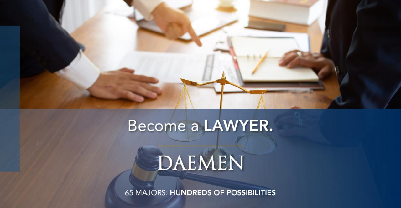 "Marketing Banner, lawyers around a table with the text ""Become an lawyer"" on top of it."